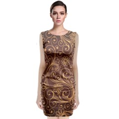 Gold And Brown Background Patterns Classic Sleeveless Midi Dress