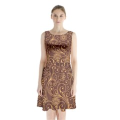 Gold And Brown Background Patterns Sleeveless Waist Tie Chiffon Dress
