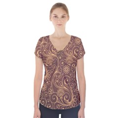Gold And Brown Background Patterns Short Sleeve Front Detail Top
