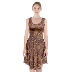 Gold And Brown Background Patterns Racerback Midi Dress