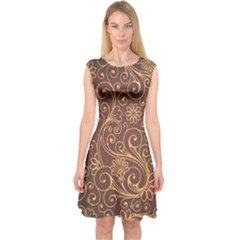 Gold And Brown Background Patterns Capsleeve Midi Dress