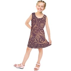 Gold And Brown Background Patterns Kids  Tunic Dress