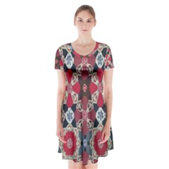 Beautiful Art Pattern Short Sleeve V-neck Flare Dress