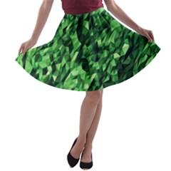 Green Attack A Line Skater Skirt