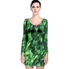 Green Attack Long Sleeve Velvet Bodycon Dress