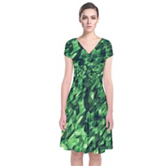 Green Attack Short Sleeve Front Wrap Dress