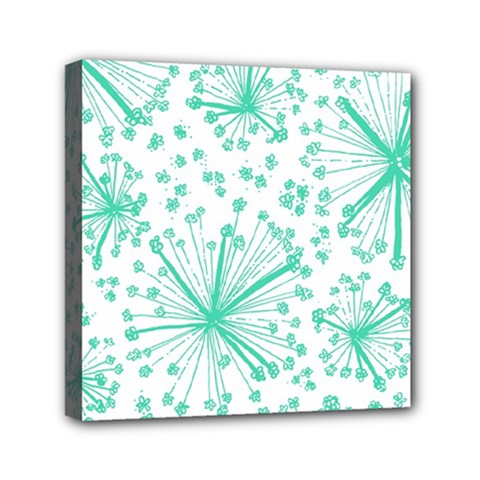 Pattern Floralgreen Mini Canvas 6  X 6