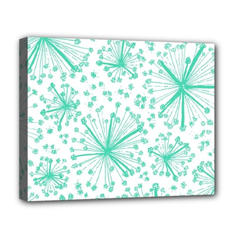 Pattern Floralgreen Deluxe Canvas 20  X 16