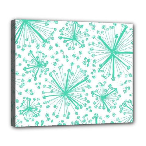 Pattern Floralgreen Deluxe Canvas 24  X 20