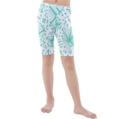 Pattern Floralgreen Kids  Mid Length Swim Shorts