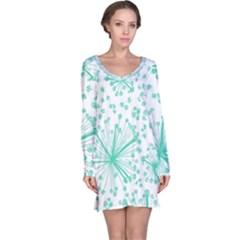 Pattern Floralgreen Long Sleeve Nightdress