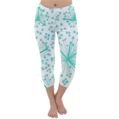 Pattern Floralgreen Capri Winter Leggings