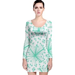 Pattern Floralgreen Long Sleeve Velvet Bodycon Dress