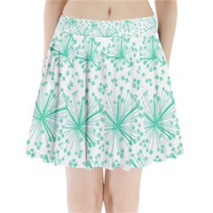 Pattern Floralgreen Pleated Mini Skirt