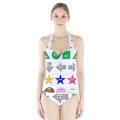 Cute Symbol Halter Swimsuit