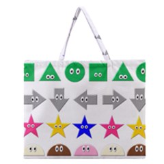 Cute Symbol Zipper Large Tote Bag