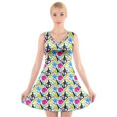 Cool Graffiti Patterns  V Neck Sleeveless Skater Dress