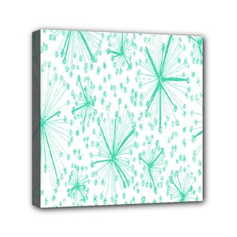 Pattern Floralgreen Mini Canvas 6  X 6