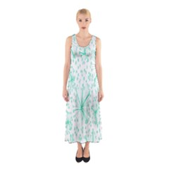 Pattern Floralgreen Sleeveless Maxi Dress