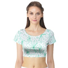 Pattern Floralgreen Short Sleeve Crop Top (tight Fit)