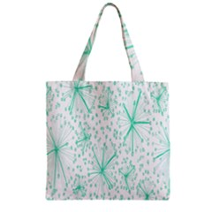 Pattern Floralgreen Zipper Grocery Tote Bag