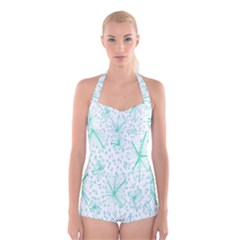 Pattern Floralgreen Boyleg Halter Swimsuit