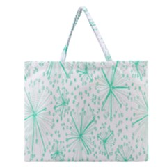 Pattern Floralgreen Zipper Large Tote Bag