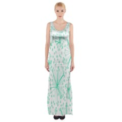 Pattern Floralgreen Maxi Thigh Split Dress