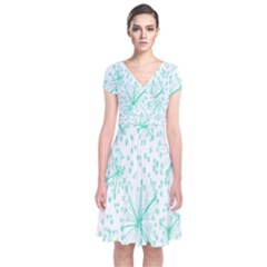 Pattern Floralgreen Short Sleeve Front Wrap Dress