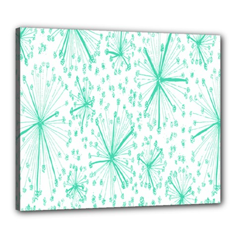 Pattern Floralgreen Canvas 24  x 20