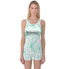 Pattern Floralgreen One Piece Boyleg Swimsuit