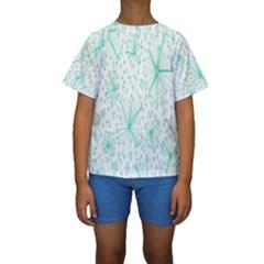 Pattern Floralgreen Kids  Short Sleeve Swimwear
