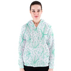 Pattern Floralgreen Women s Zipper Hoodie