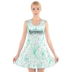 Pattern Floralgreen V Neck Sleeveless Skater Dress