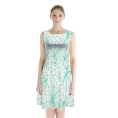 Pattern Floralgreen Sleeveless Waist Tie Chiffon Dress