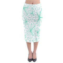 Pattern Floralgreen Midi Pencil Skirt
