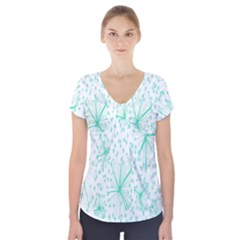 Pattern Floralgreen Short Sleeve Front Detail Top