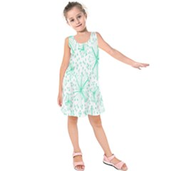 Pattern Floralgreen Kids  Sleeveless Dress