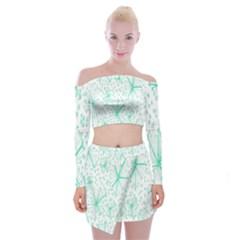 Pattern Floralgreen Off Shoulder Top With Skirt Set