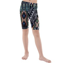 Ethnic Art Pattern Kids  Mid Length Swim Shorts