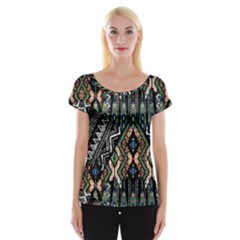 Ethnic Art Pattern Women s Cap Sleeve Top