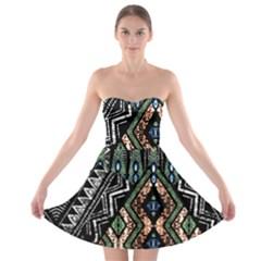 Ethnic Art Pattern Strapless Bra Top Dress