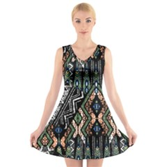 Ethnic Art Pattern V Neck Sleeveless Skater Dress
