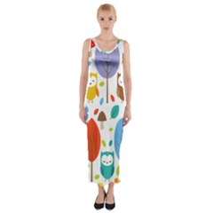Cute Owl Fitted Maxi Dress