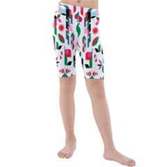 Abstract Peacock Kids  Mid Length Swim Shorts