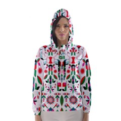 Abstract Peacock Hooded Wind Breaker (Women)