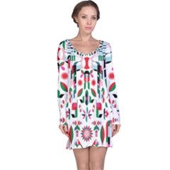 Abstract Peacock Long Sleeve Nightdress
