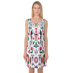 Abstract Peacock Sleeveless Satin Nightdress