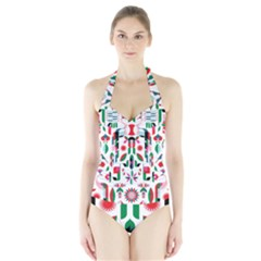 Abstract Peacock Halter Swimsuit