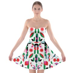 Abstract Peacock Strapless Bra Top Dress